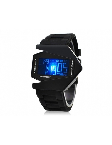 Stylish Digital Watch with Colorful Light & Silicone Strap (Black) M.