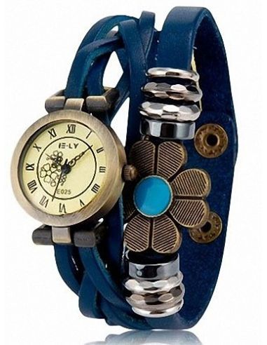 Women's Flower Decoration Round Dial Analog Watch (Blue) M.