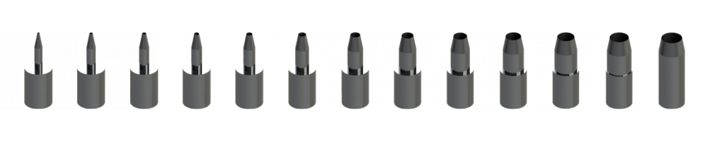 Compatible Zünd punching bits perforated cutting with rear evacuation.